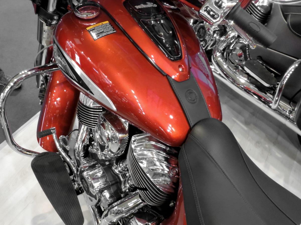 metallic, motorbike, paint, red, seat, transportation, chrome, classic, vehicle, automotive