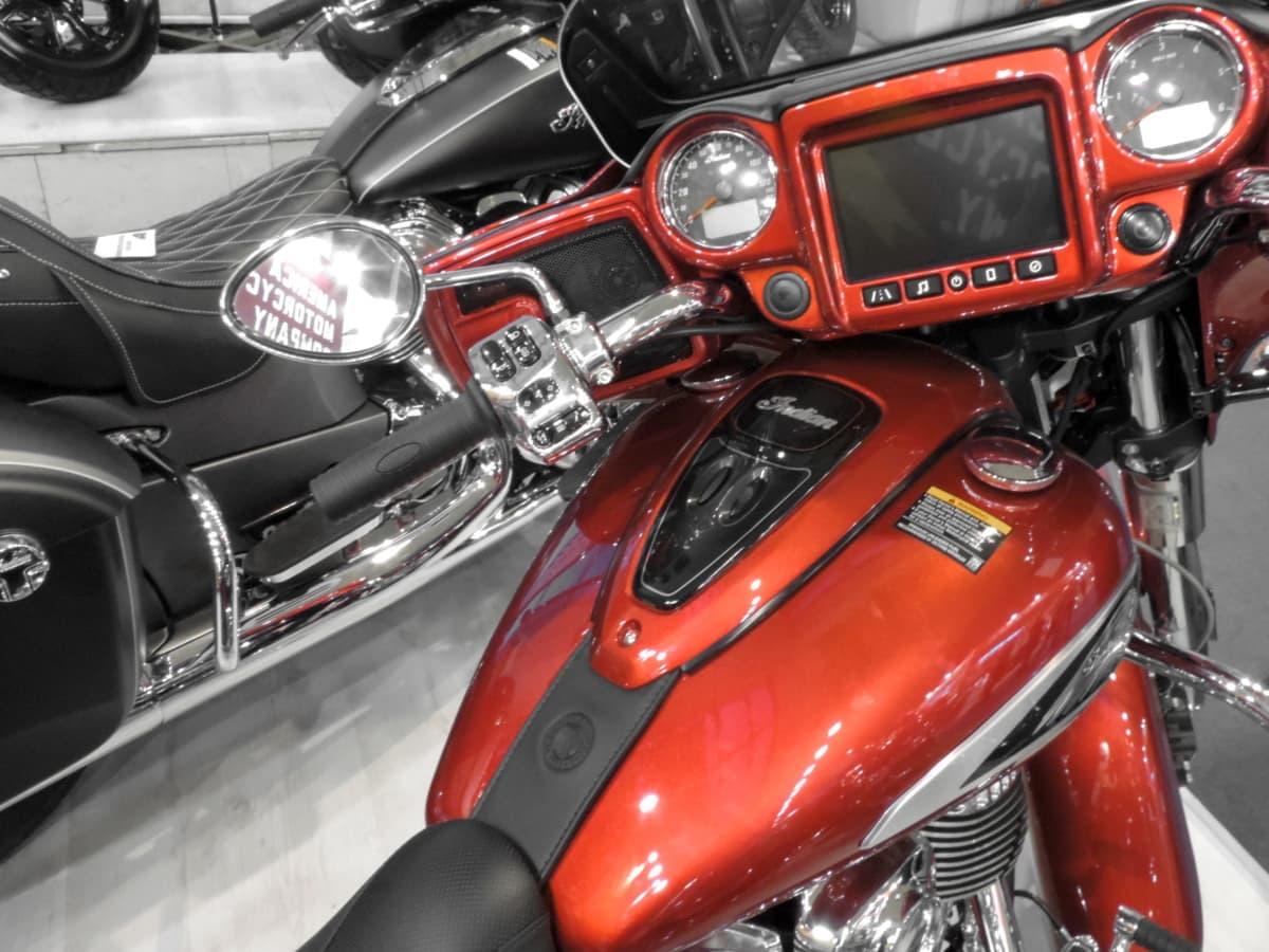 metallisk, motorsykkel, rødlig, kjøretøy, krom, sete, klassisk, stasjon, sykkel, transport