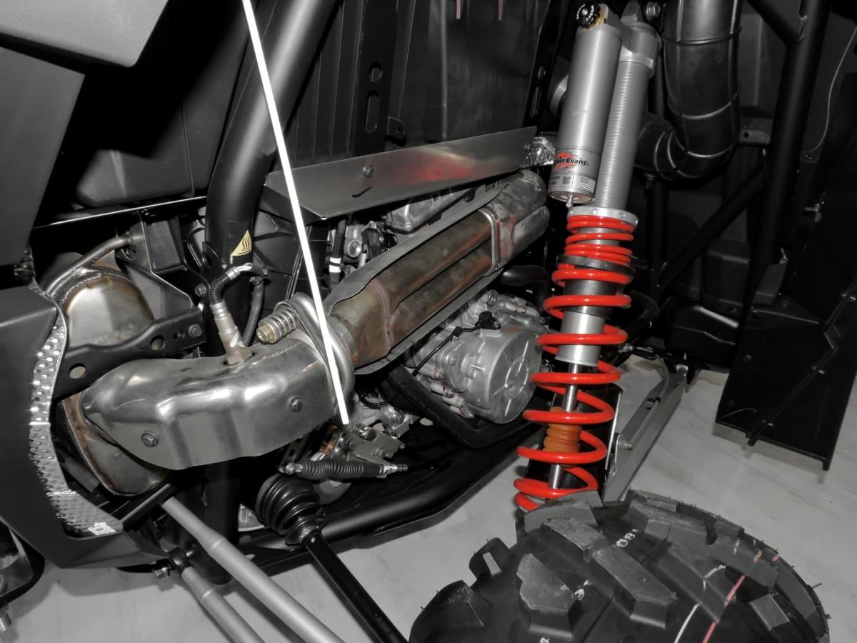 buggy, en del, suspension, dæk, enhed, køretøj, kromi, stål, jern, hjulet