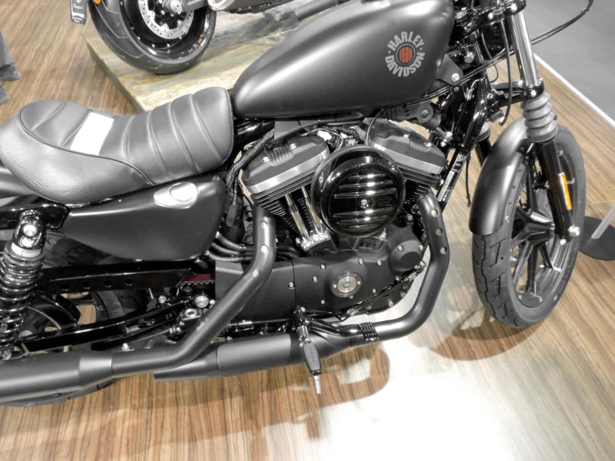 čierna, motor, motocykel, preprava, motorové, zariadenie, vozidlo, chróm, motorka, oceľ