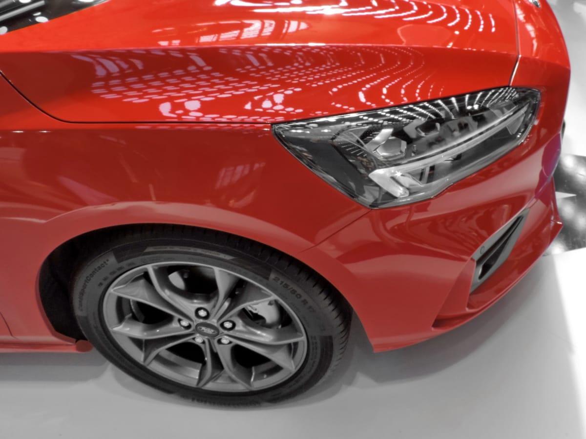 faro, cappuccio, metallizzato, vernice, rosso, automobile, ruota, veicolo, settore automobilistico, auto