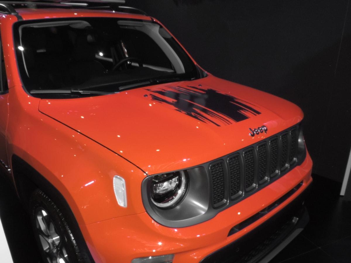 bil, hette, Jeep, rødlig, refleksjon, skygge, frontruten, kjøretøy, bil, bil
