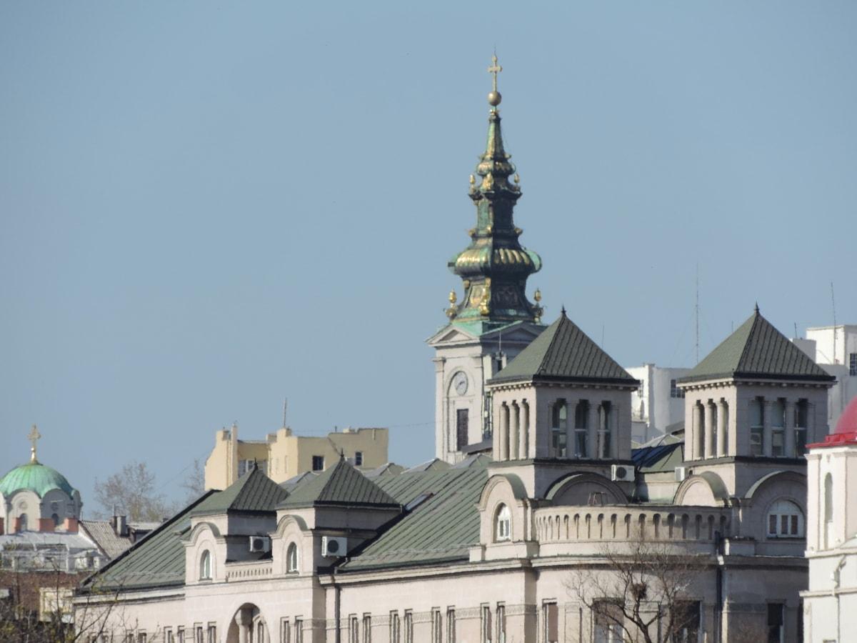 hlavné mesto, veža kostola, Panoráma mesta, centrum, fasáda, kláštor, katedrála, kostol, Residence, Architektúra