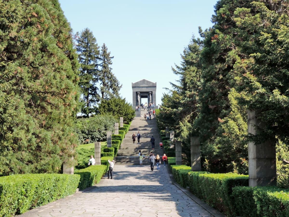 cemetery, crowd, grave, hillside, memorial, Serbia, tourism, tourist attraction, tree, garden