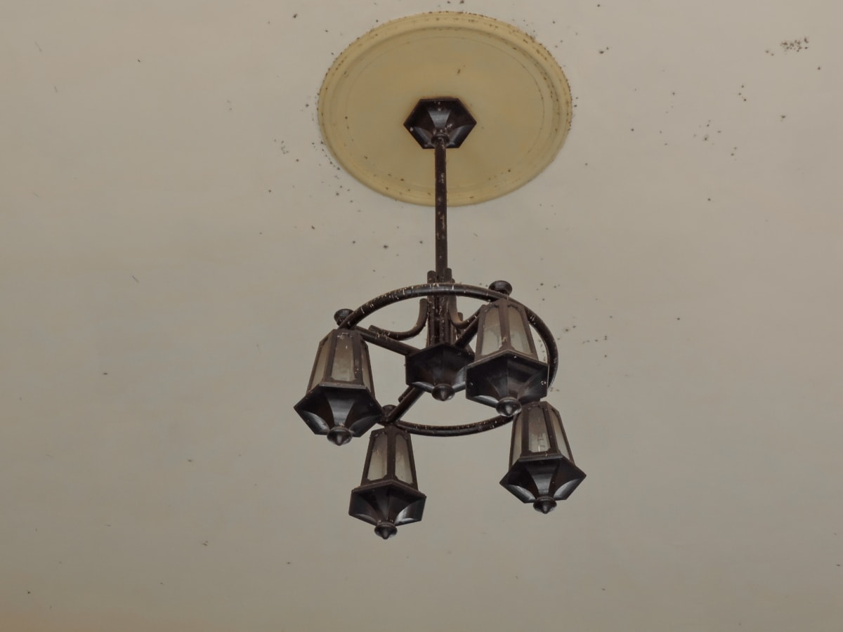 cast iron, ceiling, hanging, wall, lamp, chandelier, old, light, antique, architecture
