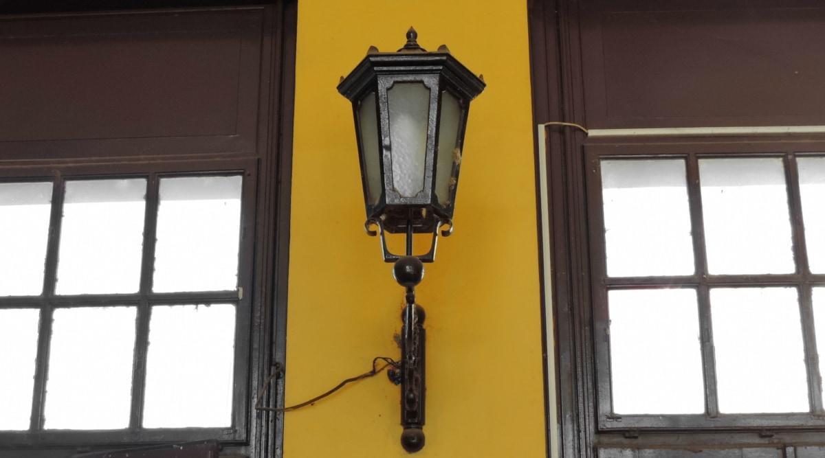 barokový, liatina, fasáda, Nástenné, okno, drôty, lampa, staré, zariadenie, okno