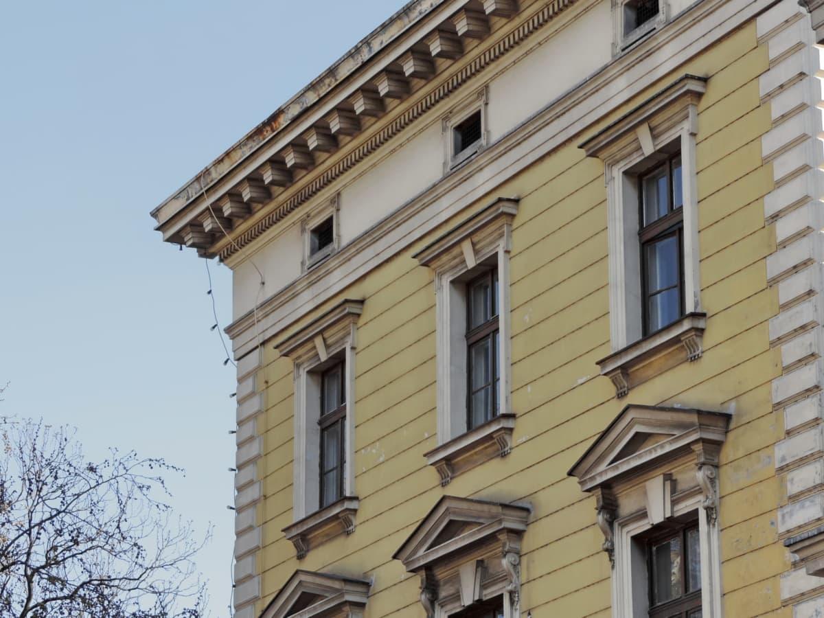 facciata, Casa, in muratura, Residence, finestre, giallastro, creazione di, architettura, finestra, famiglia