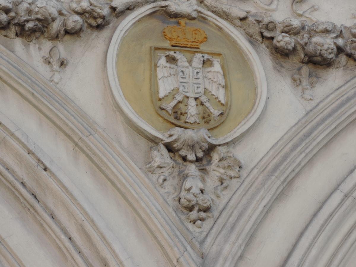 barok, orao, fasada, reljef, Srbija, simbol, simetrija, zid, arhitektura, skulptura