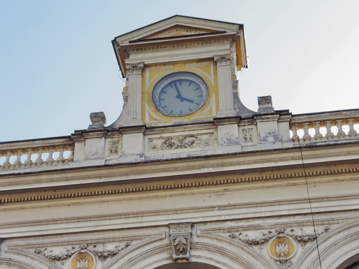 analog clock, baroque, capital city, facade, architecture, structure, clock, arch, building, memorial