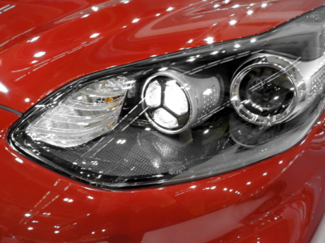 car, curve, design, metallic, paint, red, headlight, classic, vehicle, hood