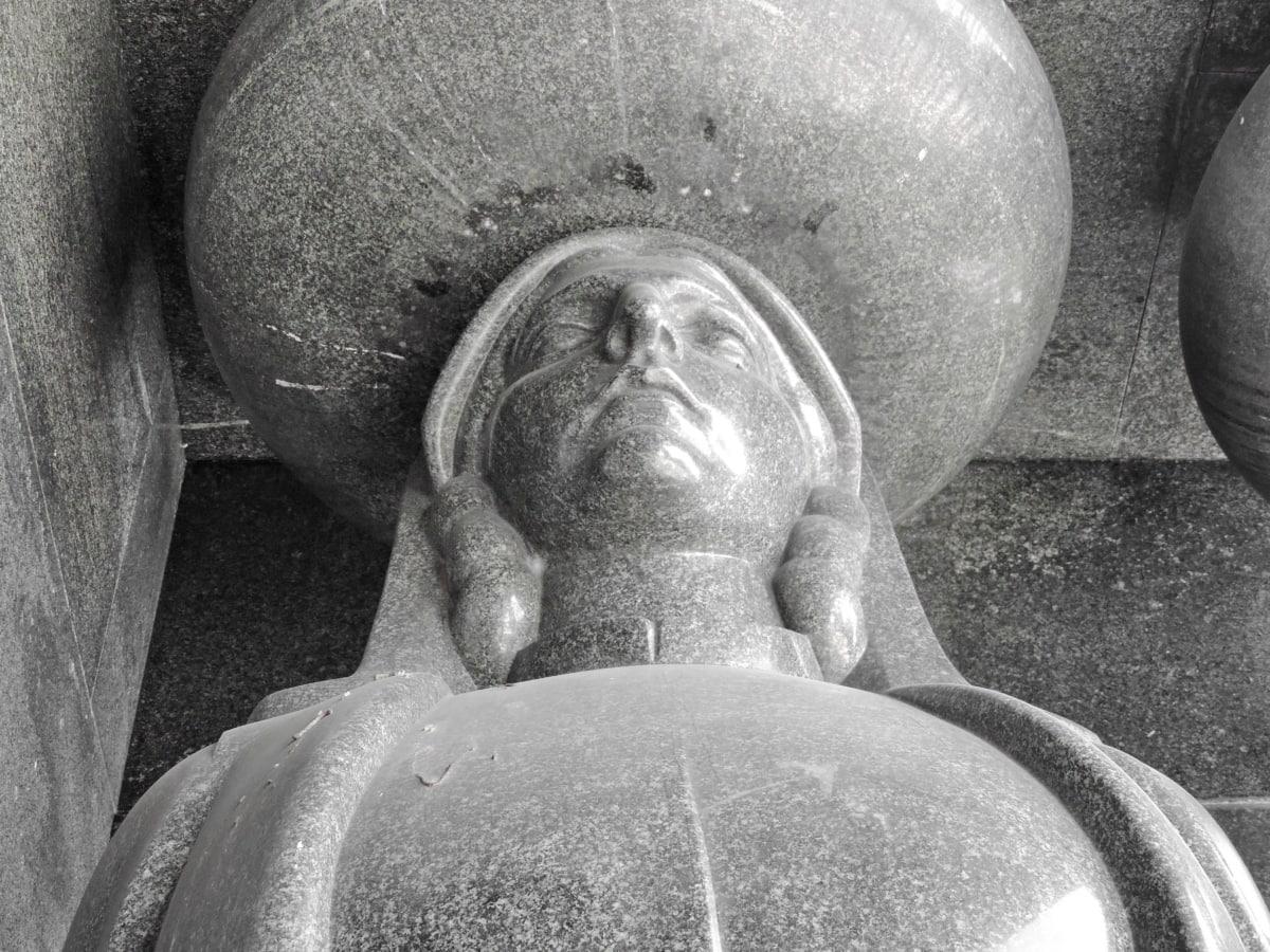 veliki, bista, siva, teška, povijesne, mramor, spomen, skulptura, umjetnost, kip