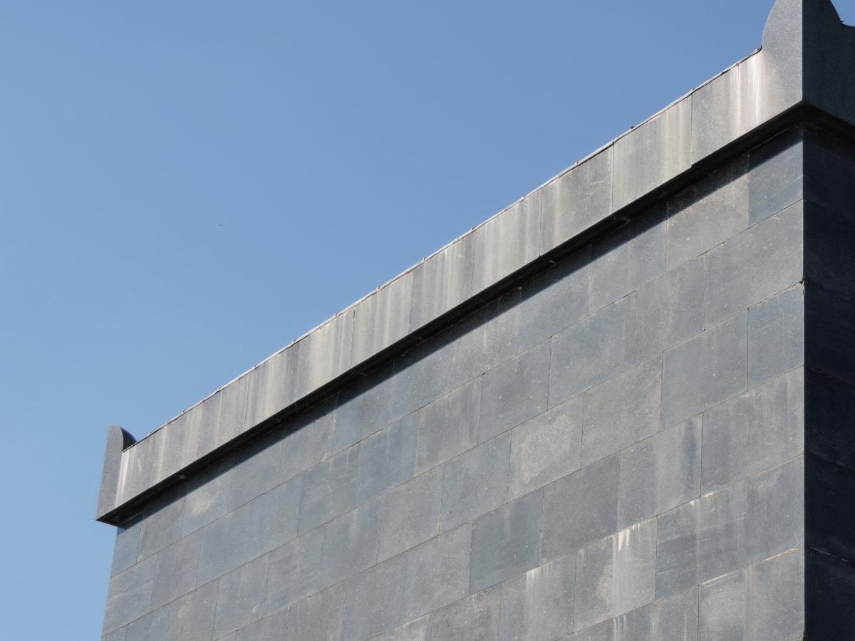 architecturale stijl, blauwe hemel, graniet, metselwerk, perspectief, muur, gebouw, het platform, stedelijke, beton