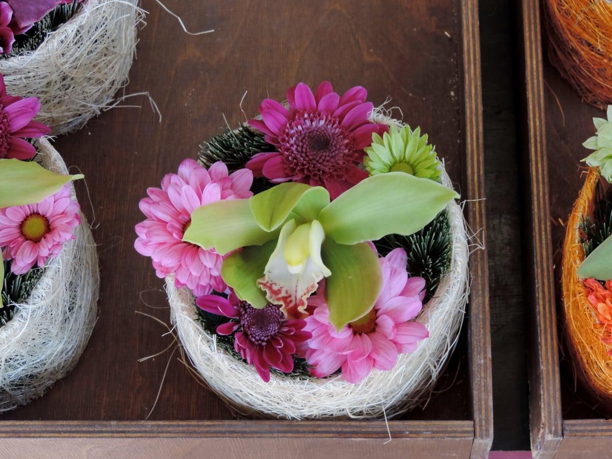 ตกแต่ง, กระถางดอกไม้, ทำด้วยมือ, ออร์คิด, ชมพู, ชีวิตยังคง, ดอกไม้, ดอกไม้, จัดเรียง, ธรรมชาติ
