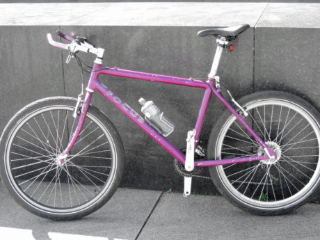 marble, mountain bike, pink, street, wall, cycle, cycling, bike, seat, wheel
