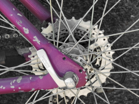 gear, gearshift, mountain bike, paint, pink, device, wheel, brake, steel, vehicle