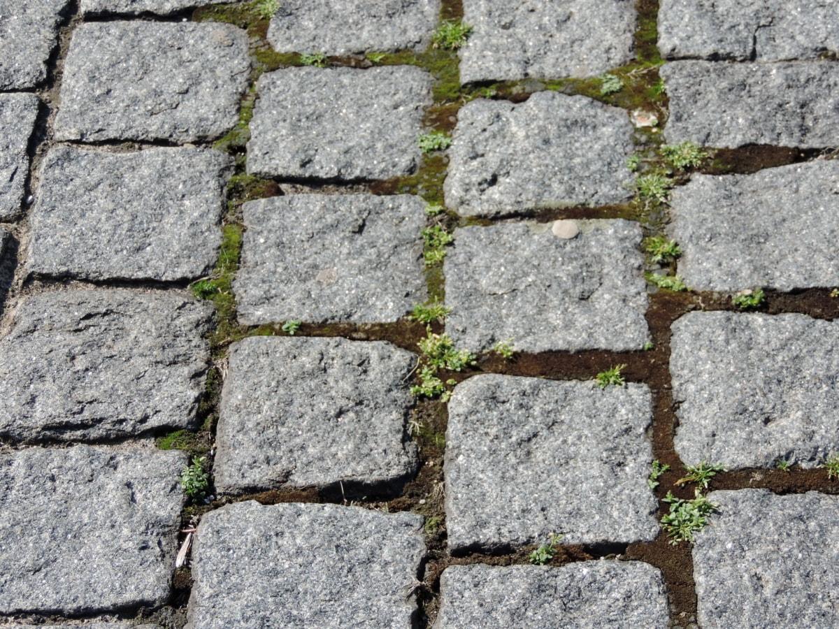 Avenue, dlažobné kocky, chodník, hrubý, Nástenné, povrch, kameň, špinavé, staré, Zem