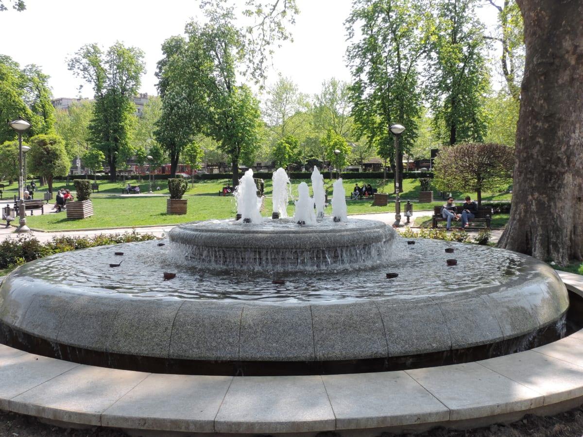 городской пейзаж, городской район, Фонтан, Структура, Парк, сад, Архитектура, на открытом воздухе, вода, дерево
