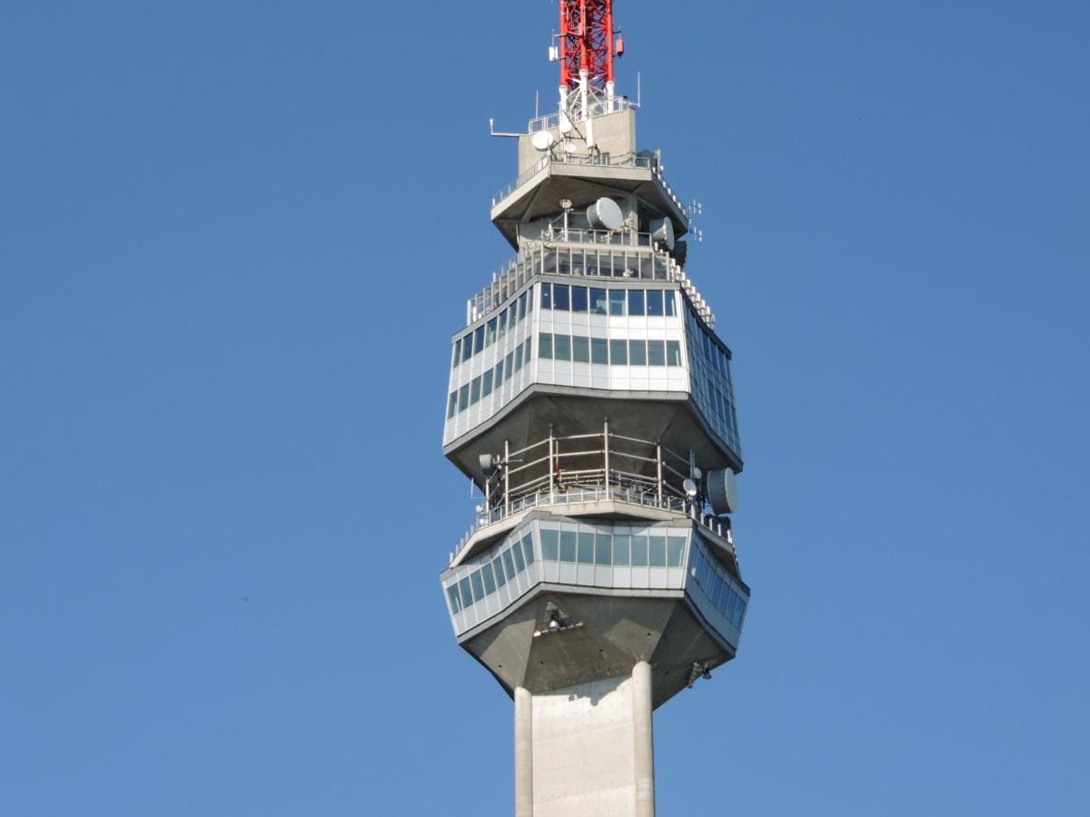 arkitektoniske stil, høy, radioantenne, radiostasjon, tårnet, struktur, arkitektur, blå himmel, utendørs, byen