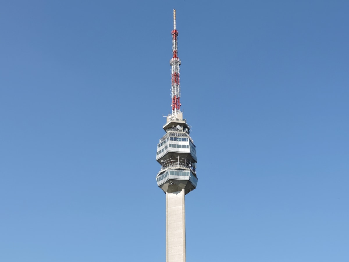 蓝天, 高, 塔, 体系结构, 无线, 构建, 钢, 技术, 当代, 天线