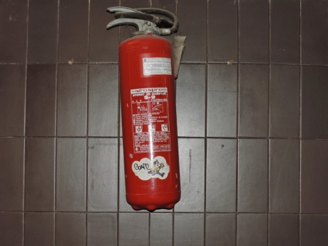 device, fire extinguisher, indoors, safety, contemporary, industry, interior design, steel, emergency, architecture