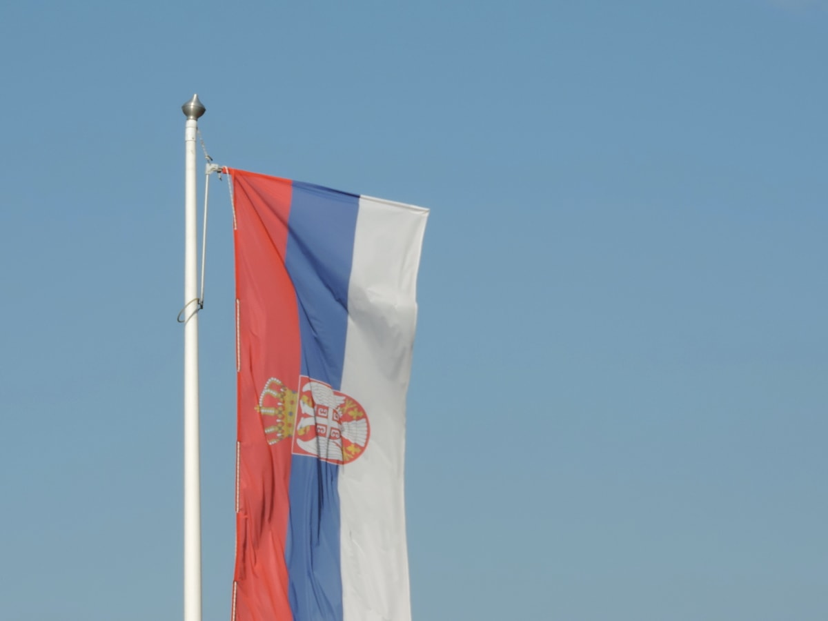 canvas, emblem, patriotism, Serbia, tricolor, flag, stick, wind, blue sky, outdoors