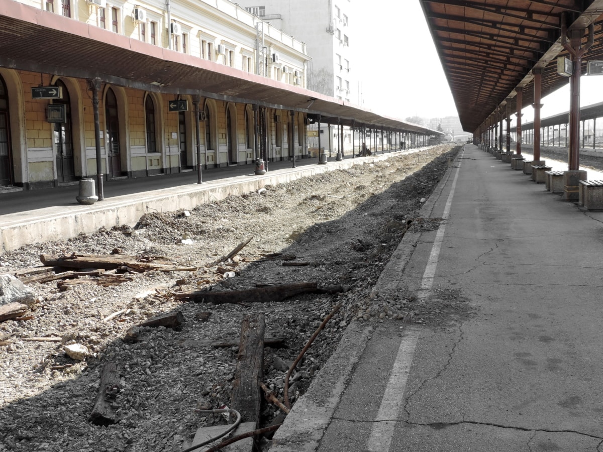 abandoned, capital city, exterior, railway station, reconstruction, road, street, empty, architecture, railway
