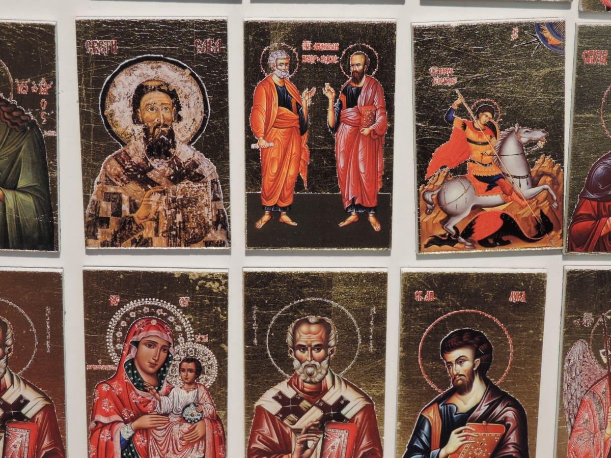 umjetnost, magnet, Suveniri, objekat, pravoslavlje, sveti, slika, religija, ilustracija, grupa