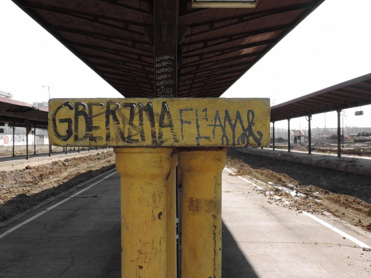 放棄, 古い, 鉄道駅, 社会主義, 列, 道路, トラフィック, 通り, 信号, アウトドア