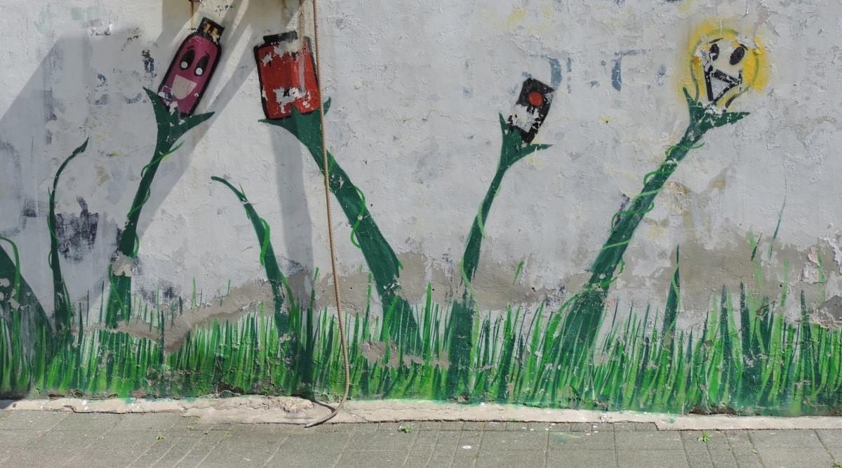 art, street, urban, painting, graffiti, artistic, dirty, creativity, flower, old