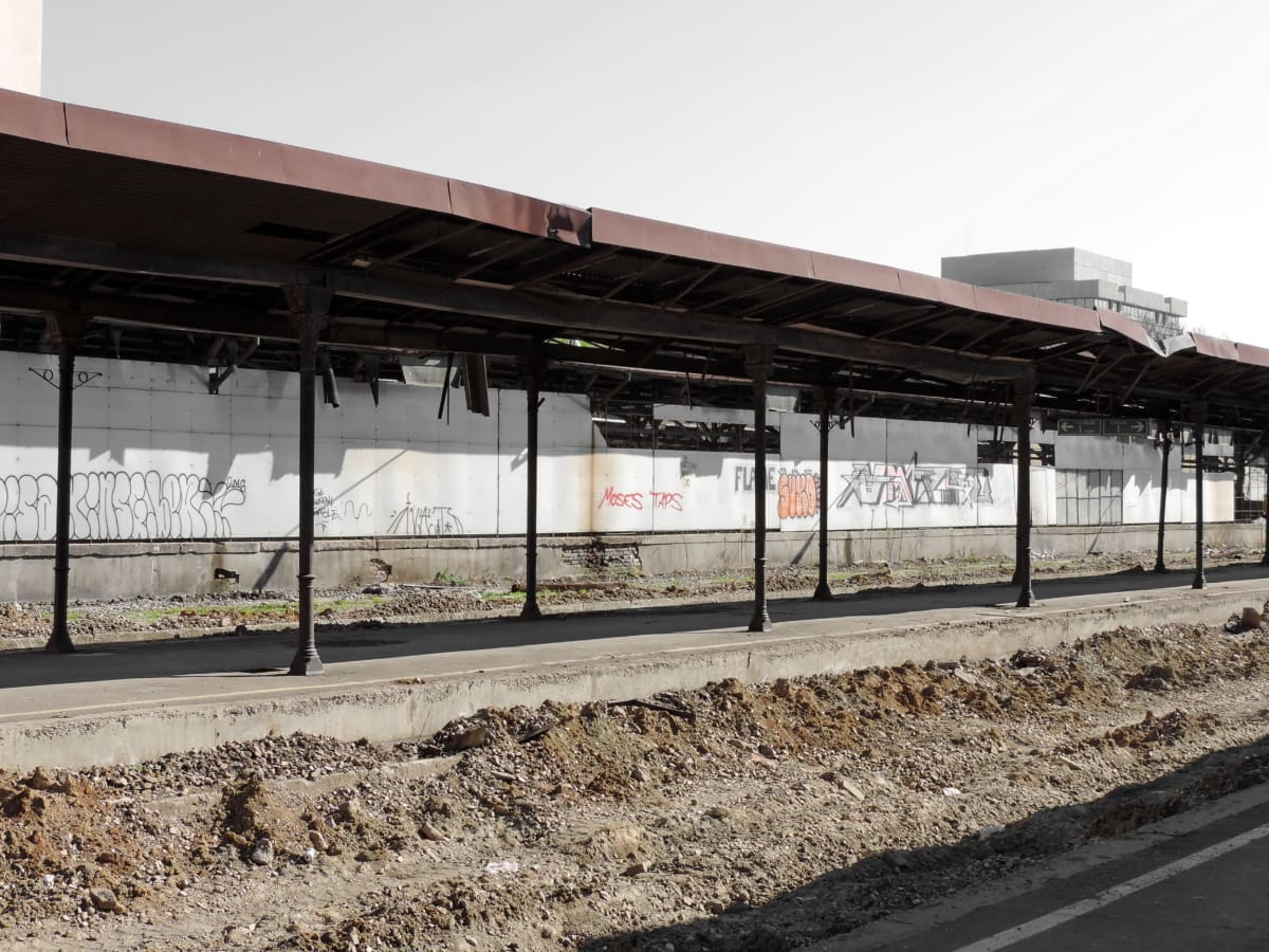 abandoned, old, railway station, reconstruction, street, railway, road, building, urban, architecture