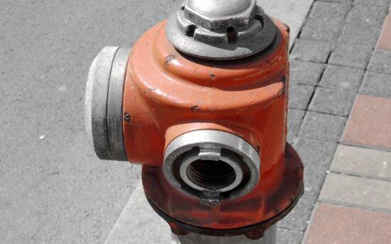 hydrant, pipe, reddish, steel, old, equipment, industry, technology, street, pressure