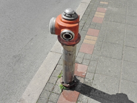 hydrant, pavement, street, urban, safety, road, pipe, old, tube, city