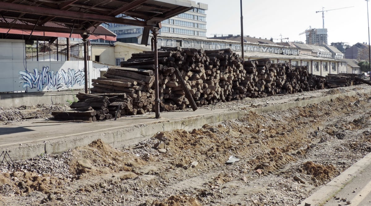 genopbygning, industri, affald, støv, bygning, bunke, jernbane, landskab, vej, skrald