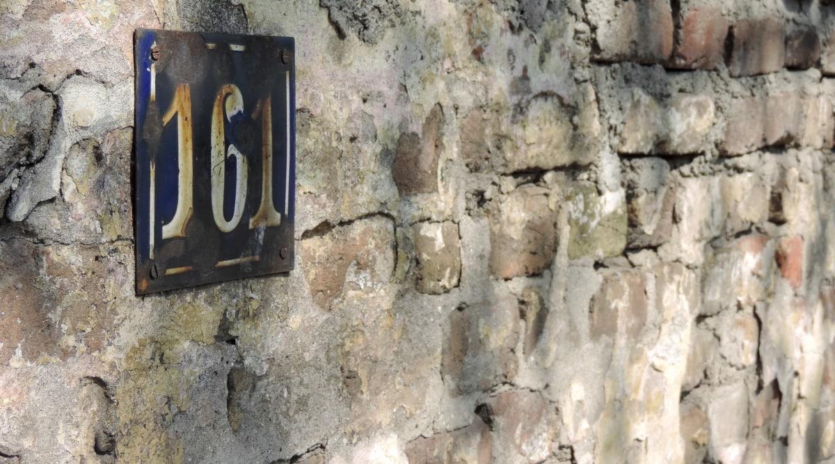 verlaten, bakstenen, nummer, teken, muur, oude, Klink, het platform, vuile, cement