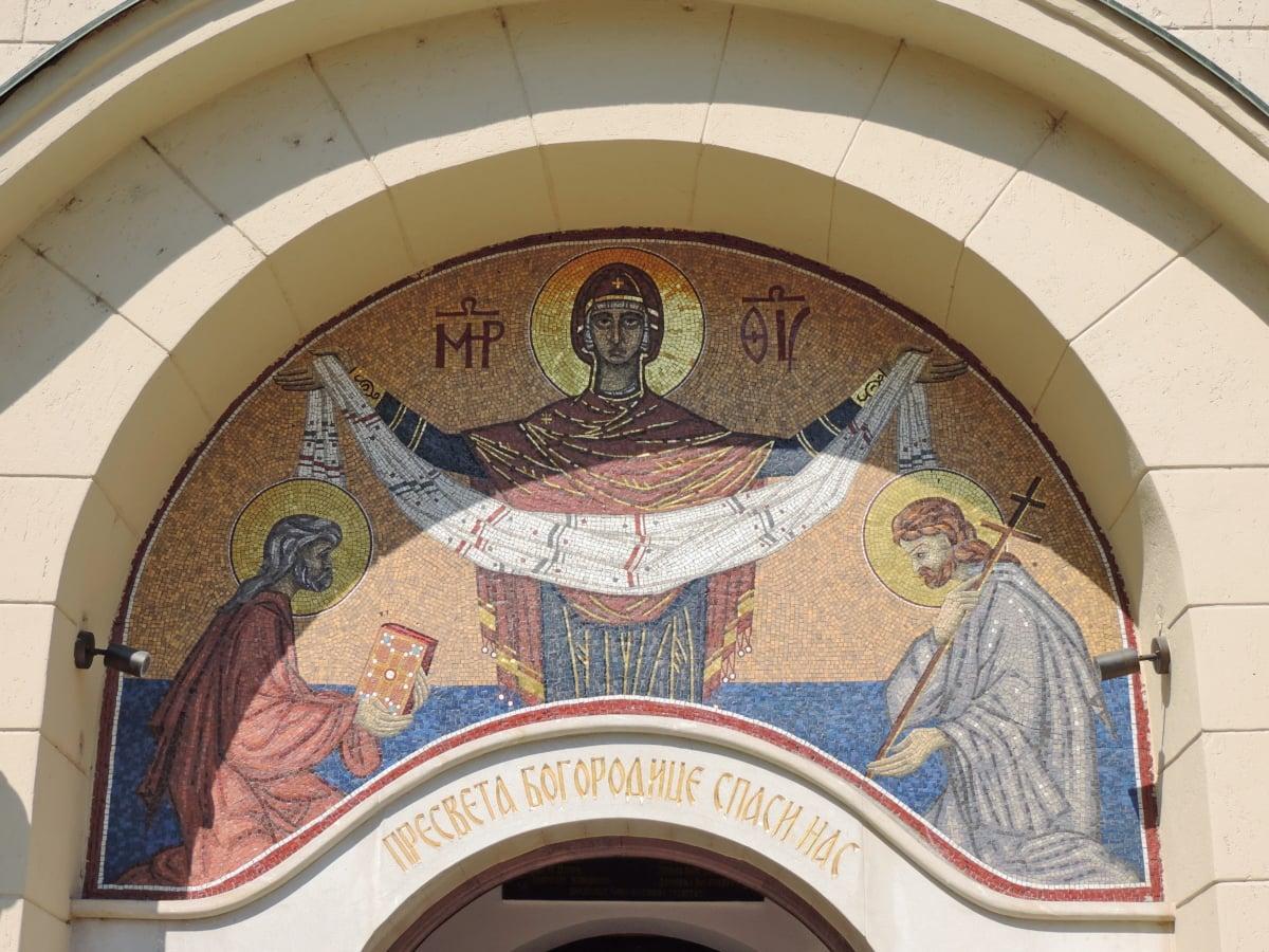 教会, 入口, 网关, 马赛克, 东正教, 体系结构, 构建, 结构, 屋顶, 艺术