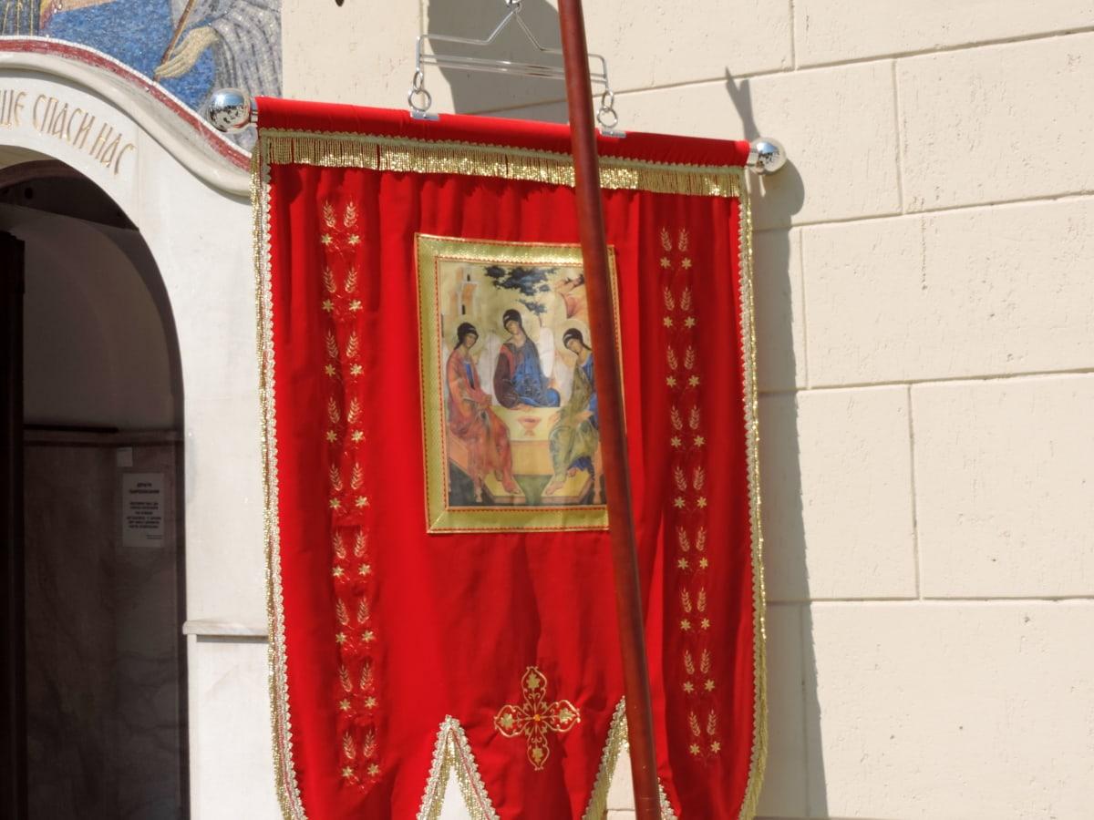 Ceremonia, Kościół, fasada, Flaga, religijne, antyk, stary, Festiwal, Projektowanie, Dekoracja
