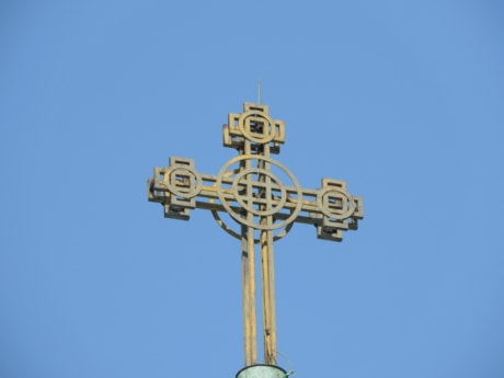 blue sky, capital city, cross, religious, old, high, architecture, steel, iron, outdoors