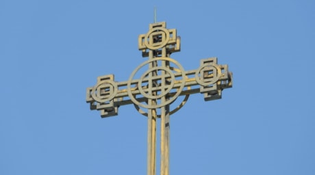 cross, orthodox, steel, yellow, iron, old, high, outdoors, traditional, architecture