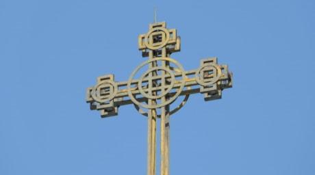 Krzyż, prawosławny, stali, żółty, Żelazko, stary, wysokie, na zewnątrz, tradycyjne, architektura