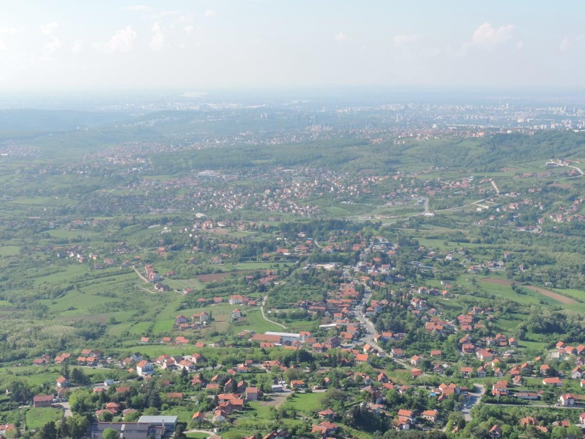 iz zraka, padina, planinski vrh, panorama, grad, krajolik, grad, drvo, brdo, priroda