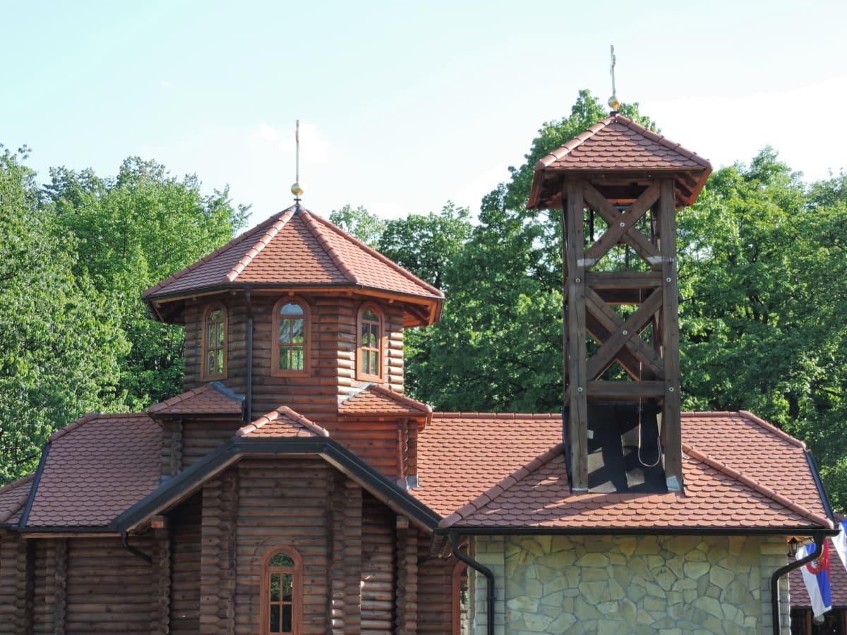 pääkaupunki, kirkko, Ortodoksinen, Serbia, puinen, vanha, puu, soittokello, arkkitehtuuri, katto
