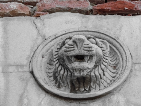 art, bricks, lion, relief, sculpture, architecture, ancient, old, building, wall