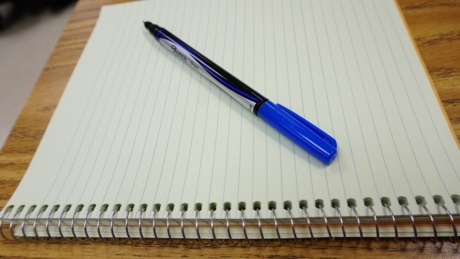 blue, note, notebook, paper, pencil, writing, education, office, school, business