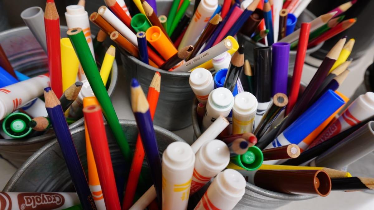 šareni, boje, bojice, crtanje, olovka, boja, škola, kreativnost, umjetnost, sastav