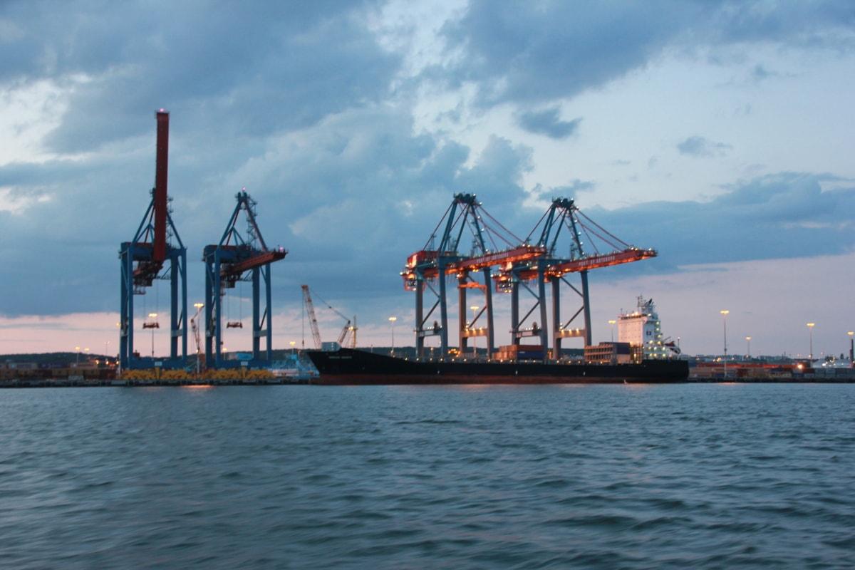φορτηγίδα, λιμάνι, βιομηχανία, ηλιοβασίλεμα, πλοίο, βαριά, Γερανός, εφοδιαστική, νερό, σκάφη
