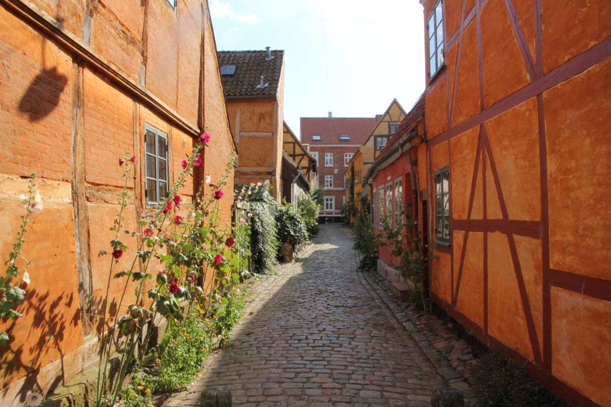 alley, countryside, narrow, street, wall, architecture, building, house, brick, old