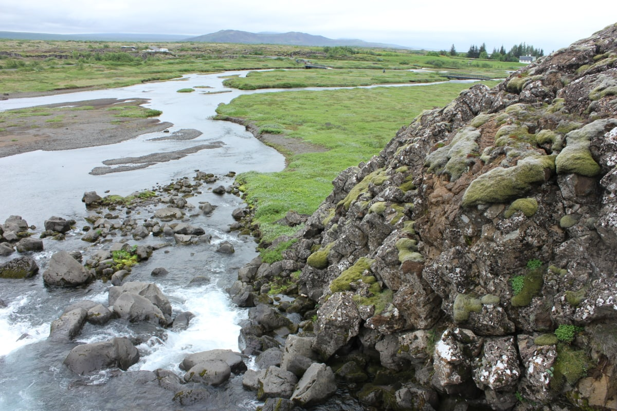 stora stenar, strömma, våren, vatten, stenmur, landskap, staket, barriär, naturen, sten