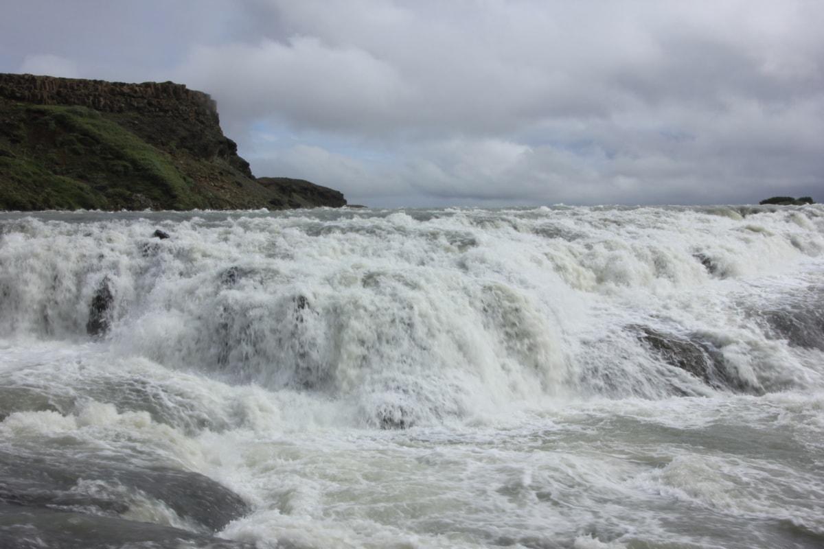 溪, 瀑布, 水, 景观, 山, 泡沫, 性质, 海滩, 冬天, 瀑布