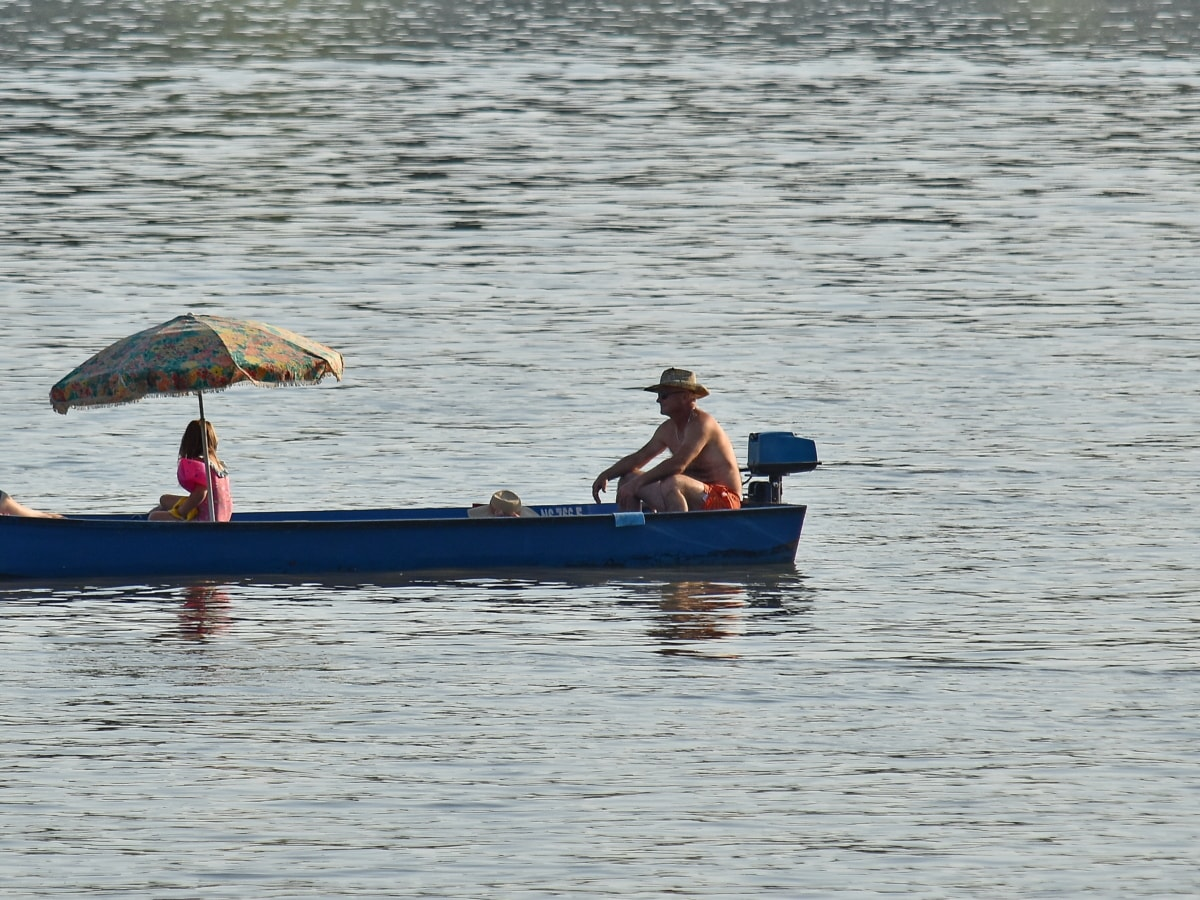 barca, voluttà, famiglia, stagione estiva, acqua, persone, pescatore, moto d'acqua, fiume, uomo