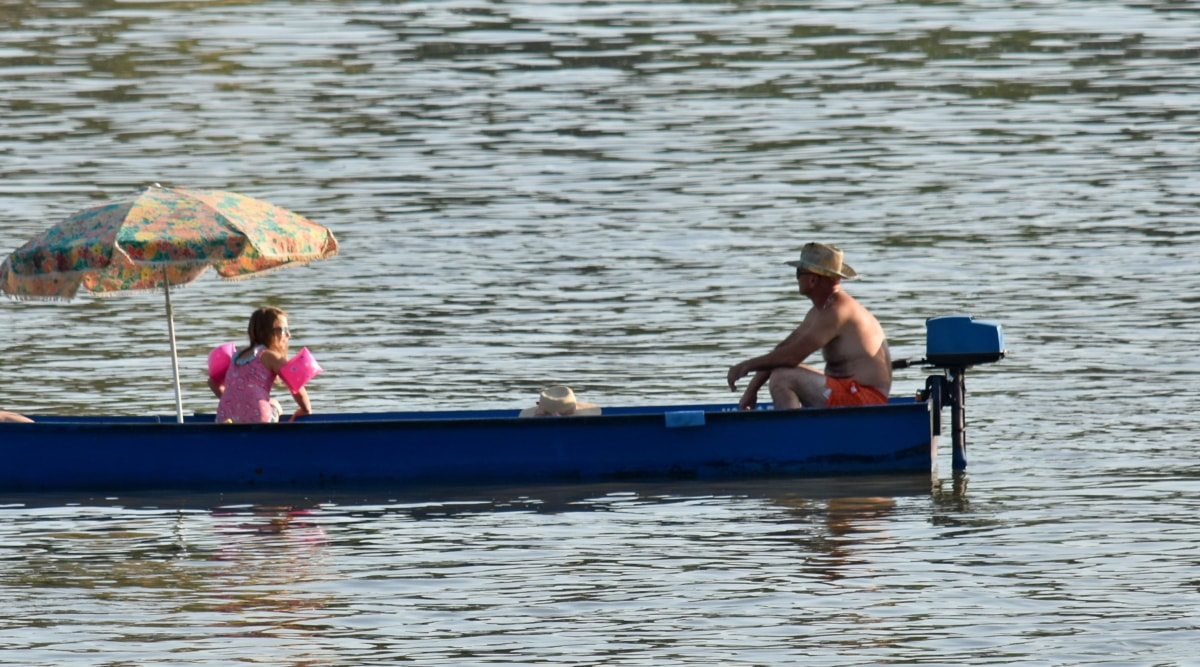 boat, daughter, family, father, parasol, relaxation, summer season, people, water, river